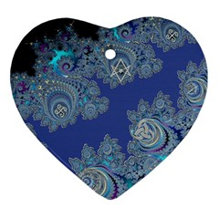 Blue Metallic Celtic Fractal Heart Ornament