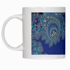 Blue Metallic Celtic Fractal White Coffee Mug
