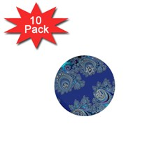 Blue Metallic Celtic Fractal 1  Mini Button (10 Pack)