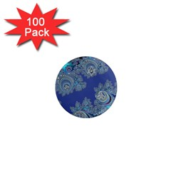 Blue Metallic Celtic Fractal 1  Mini Button Magnet (100 pack)