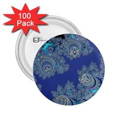 Blue Metallic Celtic Fractal 2.25  Button (100 pack)