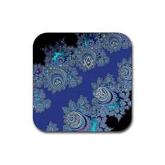 Blue Metallic Celtic Fractal Drink Coaster (Square)