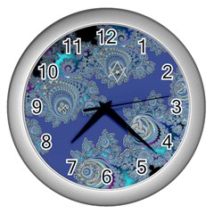 Blue Metallic Celtic Fractal Wall Clock (Silver)