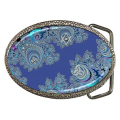 Blue Metallic Celtic Fractal Belt Buckle (oval)