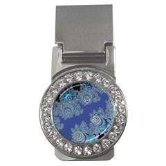 Blue Metallic Celtic Fractal Money Clip (cz)