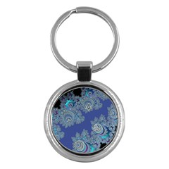 Blue Metallic Celtic Fractal Key Chain (round)