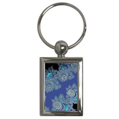 Blue Metallic Celtic Fractal Key Chain (rectangle)
