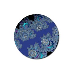 Blue Metallic Celtic Fractal Drink Coasters 4 Pack (Round)