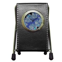 Blue Metallic Celtic Fractal Stationery Holder Clock