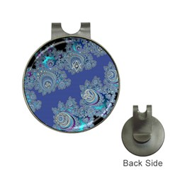 Blue Metallic Celtic Fractal Hat Clip with Golf Ball Marker