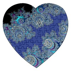 Blue Metallic Celtic Fractal Jigsaw Puzzle (Heart)