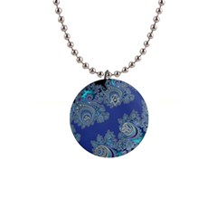 Blue Metallic Celtic Fractal Button Necklace