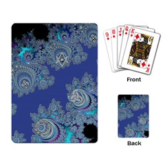 Blue Metallic Celtic Fractal Playing Cards Single Design