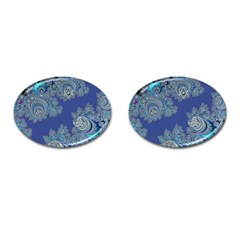 Blue Metallic Celtic Fractal Cufflinks (oval)