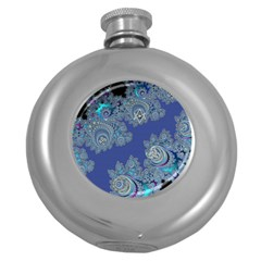 Blue Metallic Celtic Fractal Hip Flask (Round)