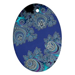 Blue Metallic Celtic Fractal Oval Ornament (Two Sides)