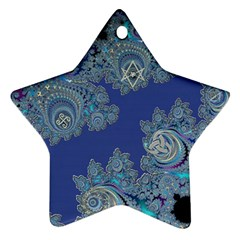 Blue Metallic Celtic Fractal Star Ornament (Two Sides)