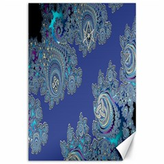 Blue Metallic Celtic Fractal Canvas 12  x 18  (Unframed)