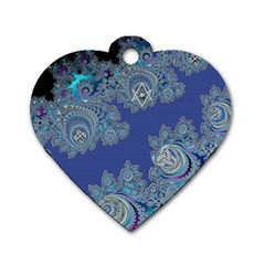 Blue Metallic Celtic Fractal Dog Tag Heart (Two Sided)