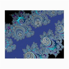 Blue Metallic Celtic Fractal Glasses Cloth (Small, Two Sided)