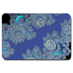 Blue Metallic Celtic Fractal Large Door Mat