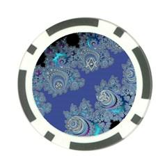 Blue Metallic Celtic Fractal Poker Chip