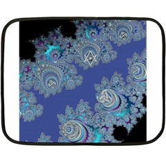 Blue Metallic Celtic Fractal Mini Fleece Blanket (Two Sided)