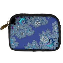 Blue Metallic Celtic Fractal Digital Camera Leather Case