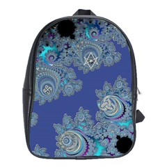 Blue Metallic Celtic Fractal School Bag (Large)