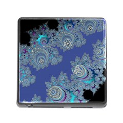 Blue Metallic Celtic Fractal Memory Card Reader with Storage (Square)