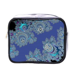 Blue Metallic Celtic Fractal Mini Travel Toiletry Bag (One Side)
