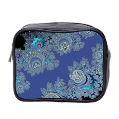 Blue Metallic Celtic Fractal Mini Travel Toiletry Bag (Two Sides)