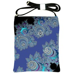 Blue Metallic Celtic Fractal Shoulder Sling Bag
