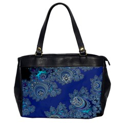 Blue Metallic Celtic Fractal Oversize Office Handbag (one Side)
