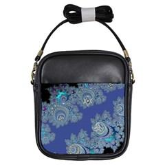 Blue Metallic Celtic Fractal Girl s Sling Bag