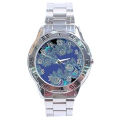 Blue Metallic Celtic Fractal Stainless Steel Watch