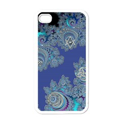 Blue Metallic Celtic Fractal Apple iPhone 4 Case (White)