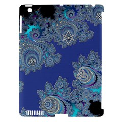 Blue Metallic Celtic Fractal Apple Ipad 3/4 Hardshell Case (compatible With Smart Cover)