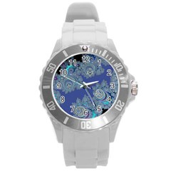 Blue Metallic Celtic Fractal Plastic Sport Watch (large)
