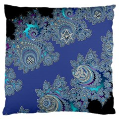 Blue Metallic Celtic Fractal Large Cushion Case (Two Sided)