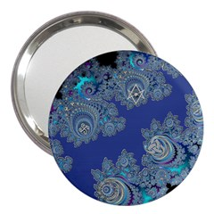 Blue Metallic Celtic Fractal 3  Handbag Mirror