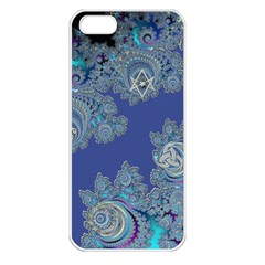 Blue Metallic Celtic Fractal Apple iPhone 5 Seamless Case (White)