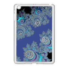 Blue Metallic Celtic Fractal Apple iPad Mini Case (White)