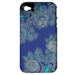 Blue Metallic Celtic Fractal Apple Iphone 4/4s Hardshell Case (pc+silicone)
