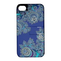Blue Metallic Celtic Fractal Apple Iphone 4/4s Hardshell Case With Stand