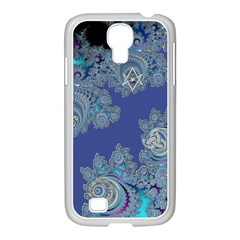 Blue Metallic Celtic Fractal Samsung GALAXY S4 I9500/ I9505 Case (White)