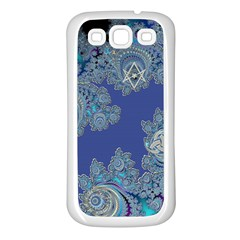 Blue Metallic Celtic Fractal Samsung Galaxy S3 Back Case (white)