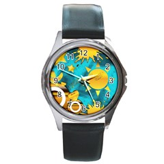 Musical Peace Round Leather Watch (silver Rim)