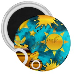 Musical Peace 3  Button Magnet