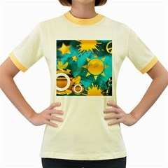 Musical Peace Women s Ringer T Shirt (colored)
